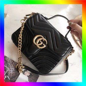 💥Gucci💥 GG Marmont Mini Top Handle Shoulder Bag Crossbody Bag Handbag
